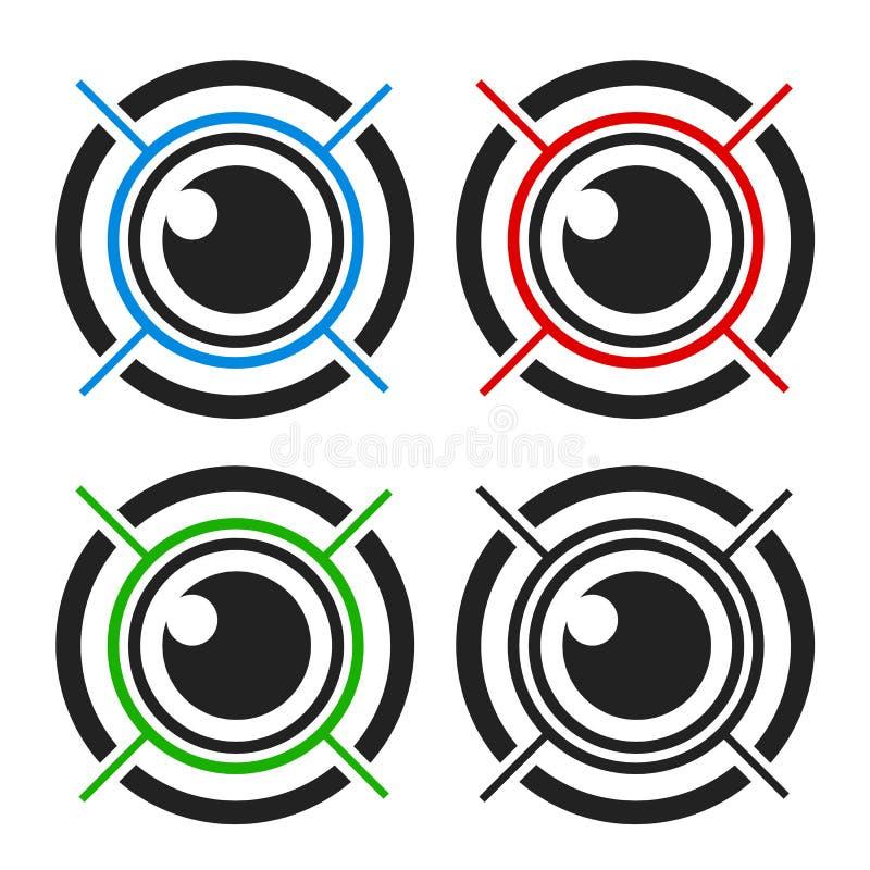 Eye biometric. Data scan multiple colors royalty free illustration