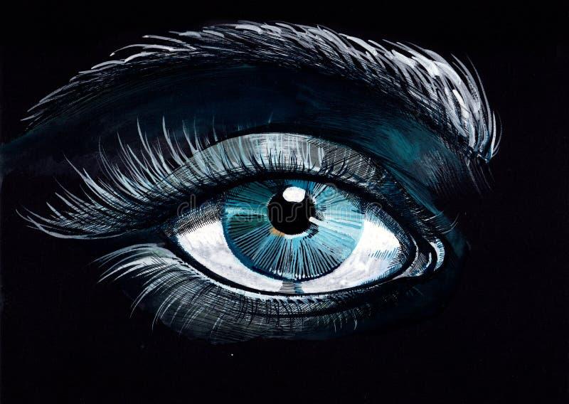 Eye. On a black background stock illustration