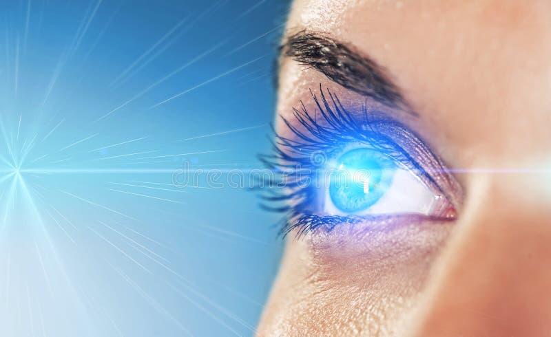 Eye on blue background royalty free stock photo
