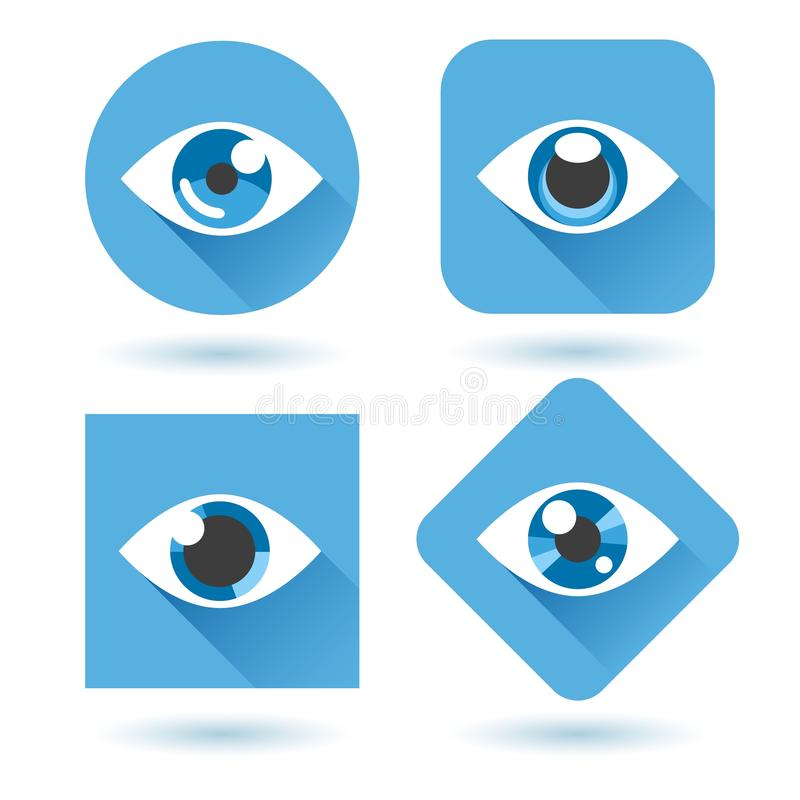 Eye blue flat icons set. Eye blue flat icons. Human eyes with shadow vector icon set vector illustration