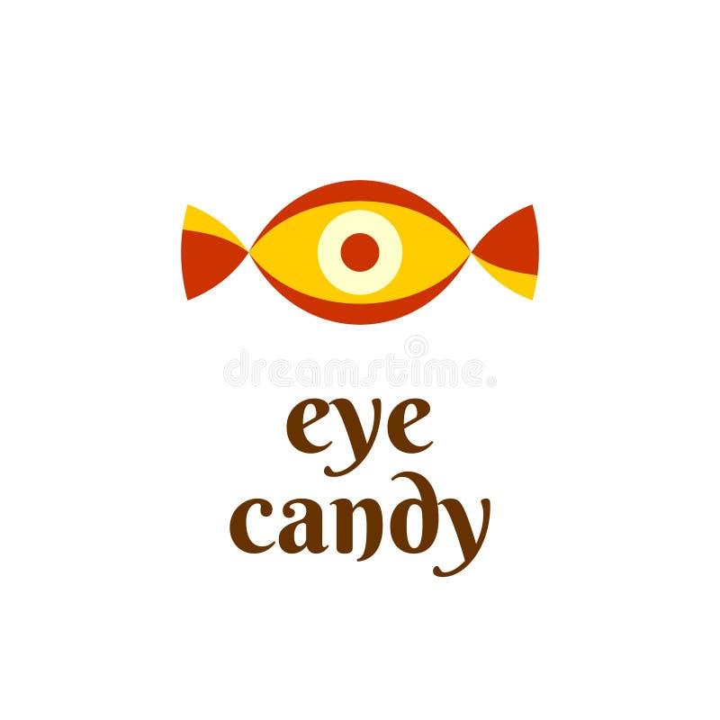 Eye candy fun logo concept. Candy shape with iris vector illustration