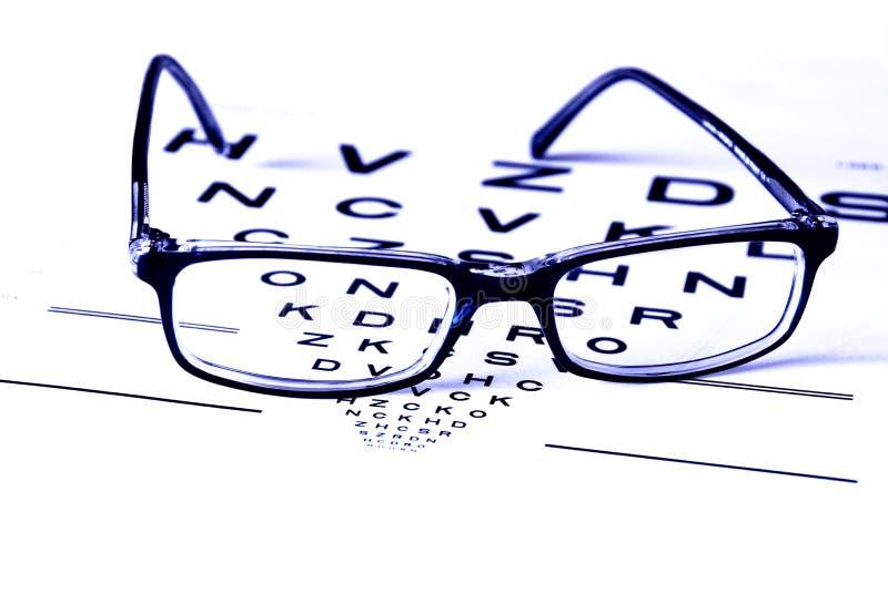 Eye care. Optometrist eye test chart and glasses in blue light