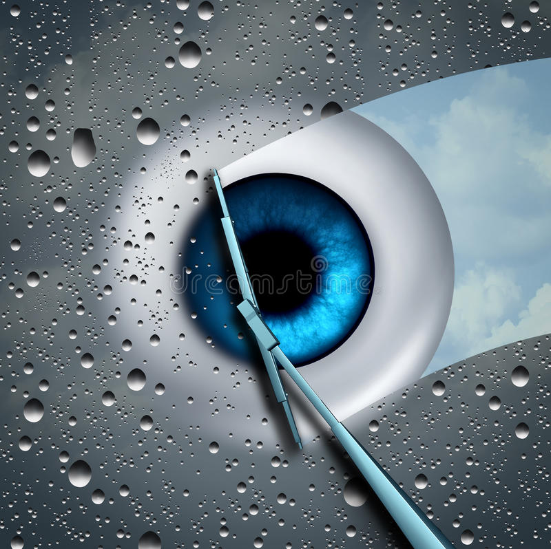 Eye Care. Or eyecare health concept as a wet glass in front of an eyeball being wiped clean with a wiper as a optometry or ophthalmology medicine symbol with 3D stock illustration
