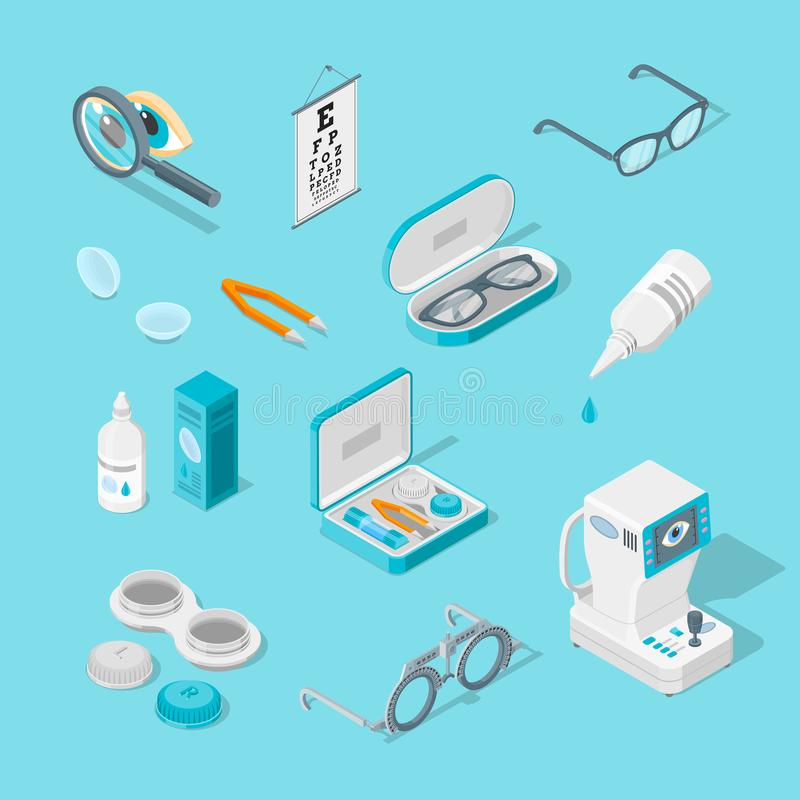 Eye care and health, vector 3d isometric icons set. Contact lenses, glasses, ophthalmology equipment illustration. stock illustration