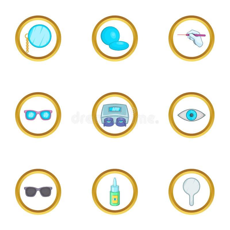 Eye care ophthalmology icons set, cartoon style stock illustration