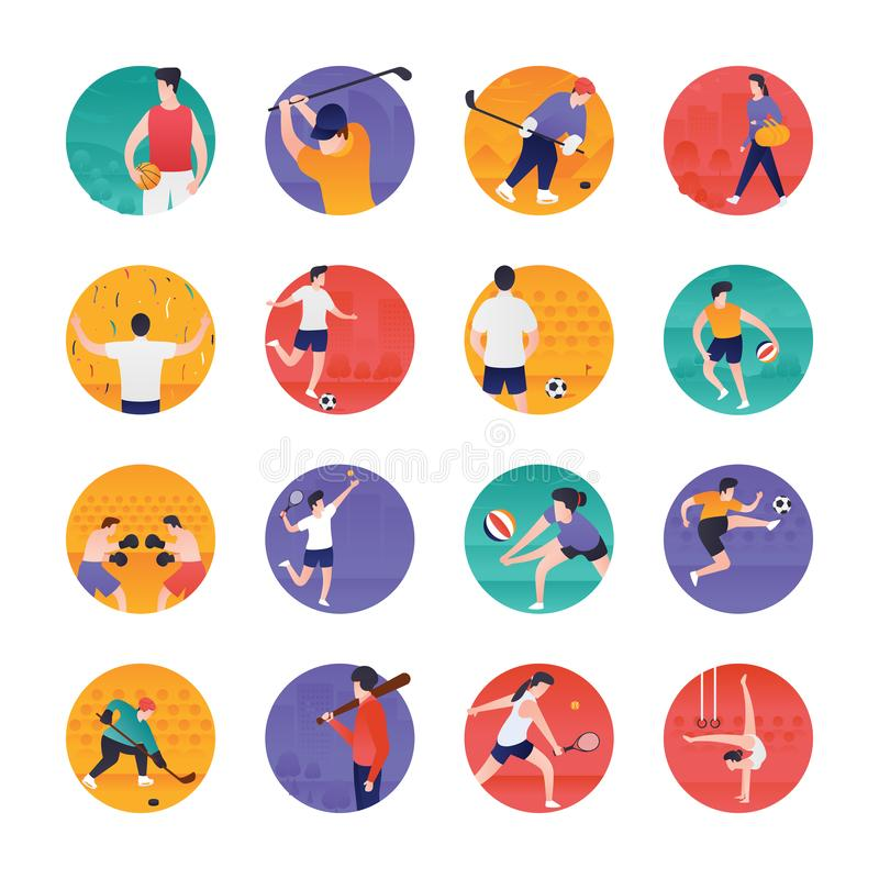 Sports and Olympic Flat Icons Pack stock illustration