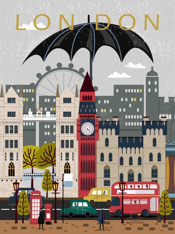 Eye-catching United Kingdom travel poster. Design in flat style royalty free illustration