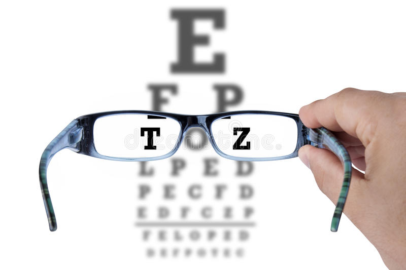 Eye Chart Glasses Spectacles Test Vision. Male hand holding glasses and reading eye chart test vision on white royalty free stock photo