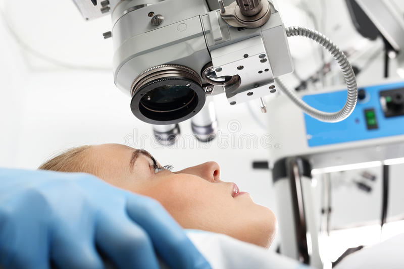 Eye clinic, laser vision correction. A patient in the operating room during ophthalmic surgery stock photos