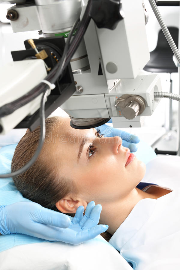 Eye clinic, laser vision correction. A patient in the operating room during ophthalmic surgery royalty free stock photos
