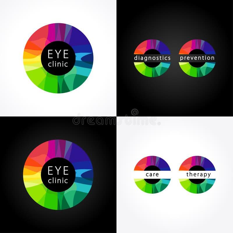 Eye clinic round colored logo. royalty free illustration
