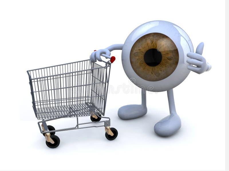 Eye com braços e pés e carrinho de compras, ilustração stock