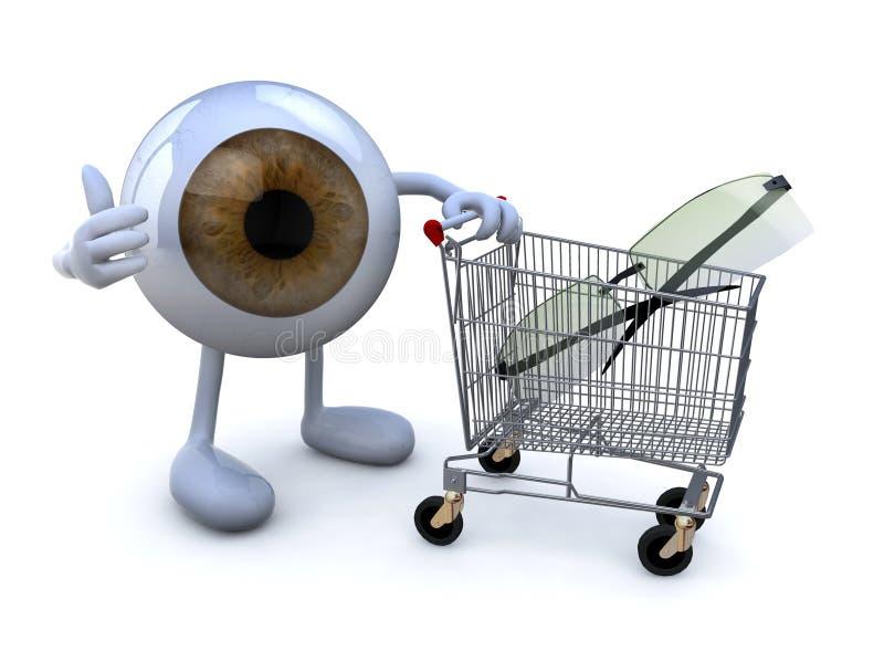 Eye com braços e pés e carrinho de compras com eyeglasses ilustração stock