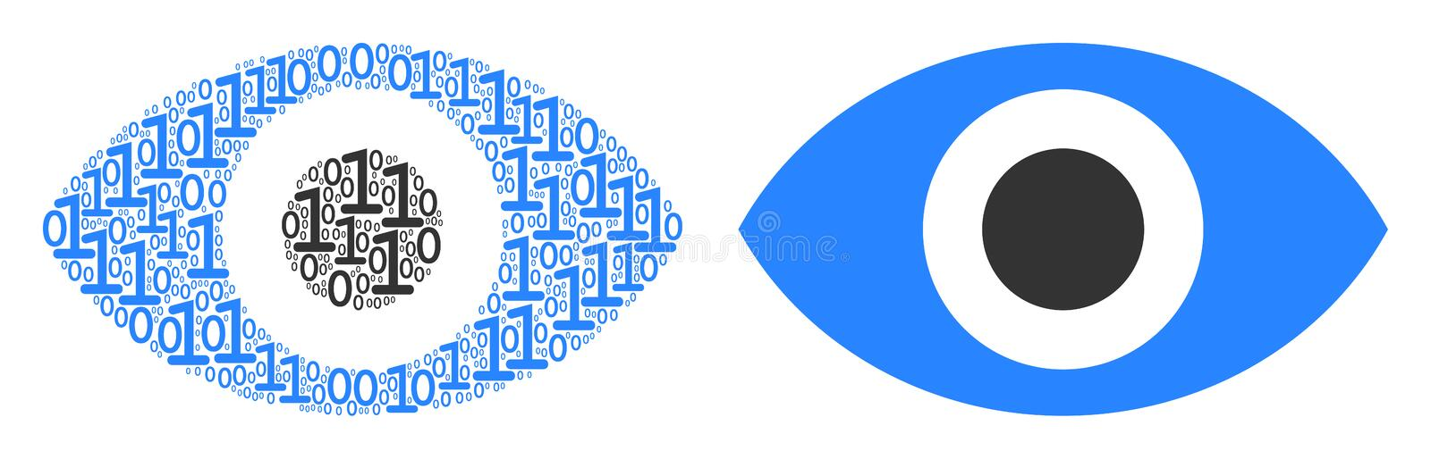 Eye Collage of Binary Digits. Eye composition icon of zero and null digits in different sizes. Vector digit symbols are composed into eye mosaic design concept royalty free illustration