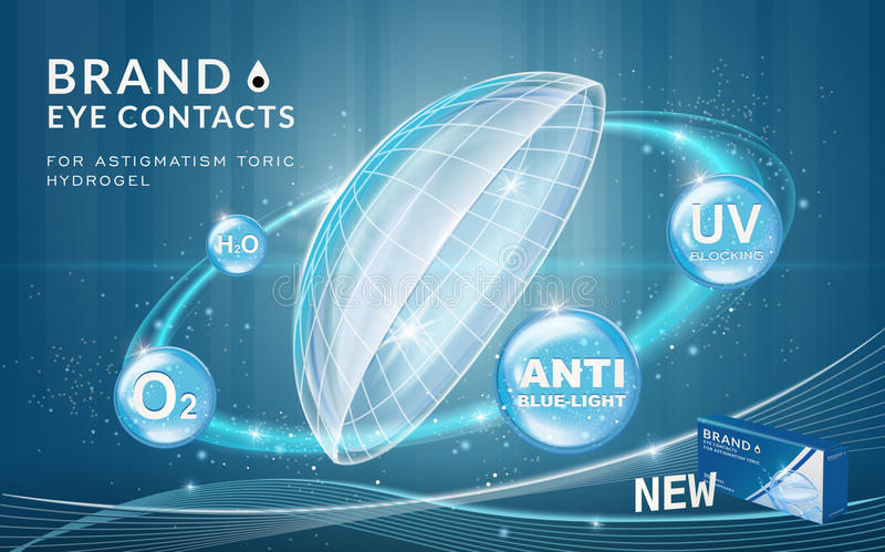4a67216c Eye contacts ads template. Contact lenses with sparkling ring effects and  advantages on blue bubbles
