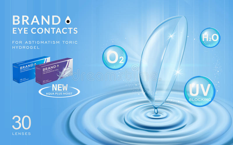 04435c91 Eye contacts ads template. Contact lenses with water ripples and effects on  blue bubbles.