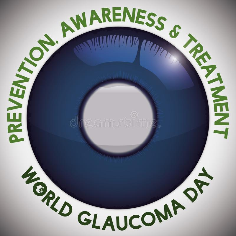 Eye with Cornea Edematous and Awareness Message for Glaucoma Day, Vector Illustration. Poster for World Glaucoma Day with advices for prevention and treatment royalty free illustration