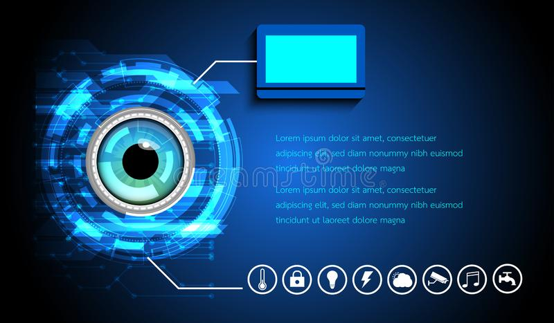Abstract Digital eye scan Sci-fi futuristic user interface. Technology background. Smart home Security technology concept vector illustration