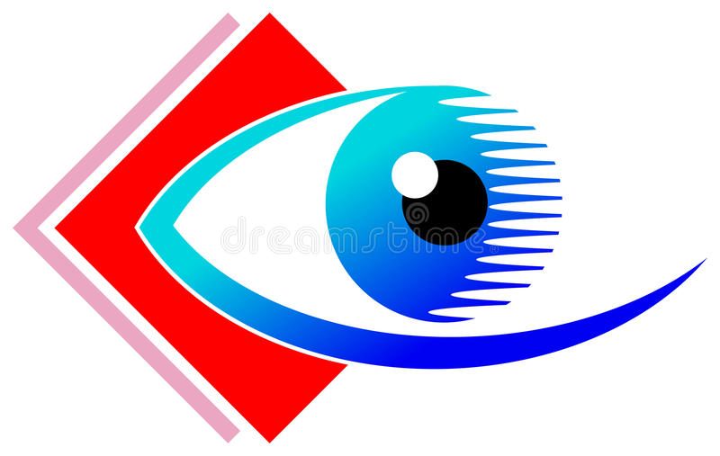 Eye design. Isolated illustrated eye with square logo design royalty free illustration