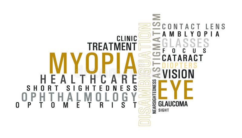 Eye disease word cloud. Illustration for articles stock illustration