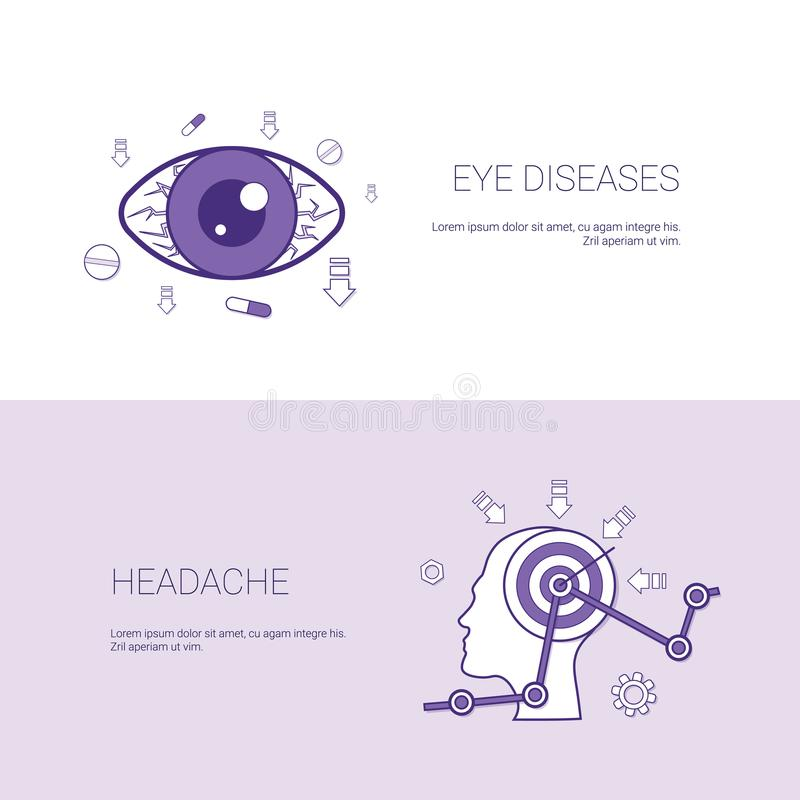 Eye Diseases And Headache Concept Template Web Banner With Copy Space. Space Vector Illustration stock illustration