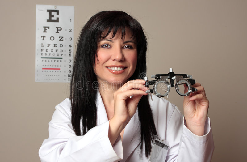 Download Eye Doctor With Trial Frames Stock Image - Image of female, myopia: 5328197