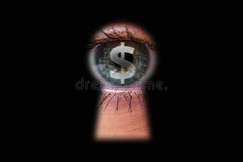 Eye with dollar symbol in keyhole. Human eye with dollar symbol looking through a keyhole royalty free illustration