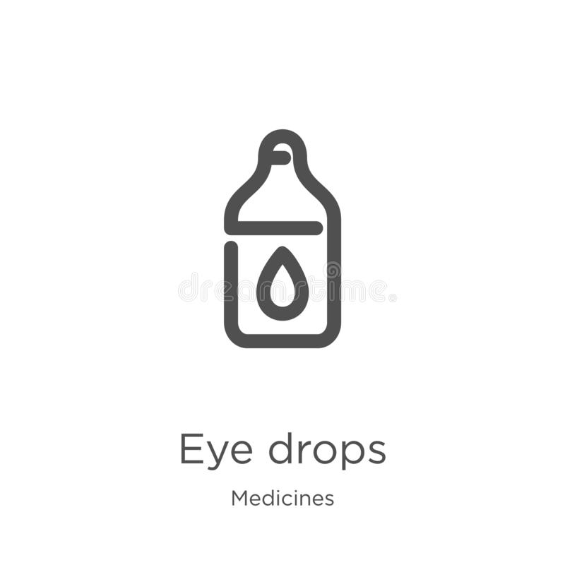 eye drops icon vector from medicines collection. Thin line eye drops outline icon vector illustration. Outline, thin line eye royalty free illustration