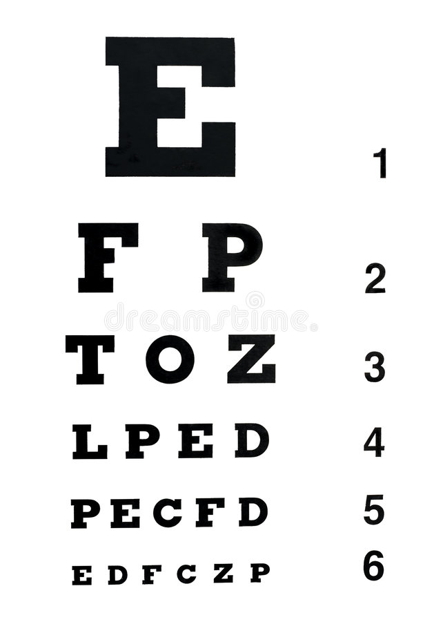 Eye exam chart royalty free stock photo