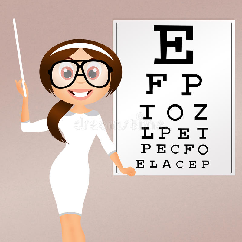 Eye examination. Illustration of girl for eye examination vector illustration