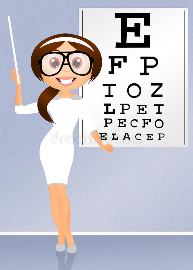 Eye examination. Illustration of girl for eye examination stock illustration