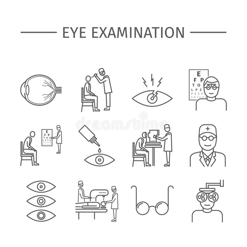 Eye Examination. Line icons set. Vector signs. For web graphics vector illustration