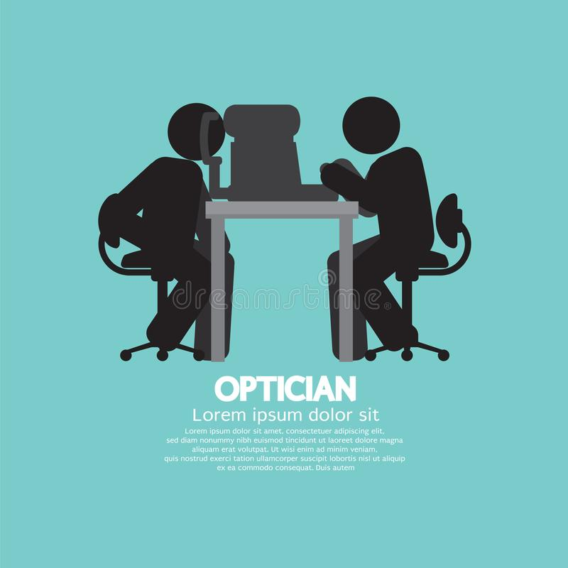 Eye examination By The Optician Healthcare Occupation Provider Black Symbol. Vector Illustration vector illustration