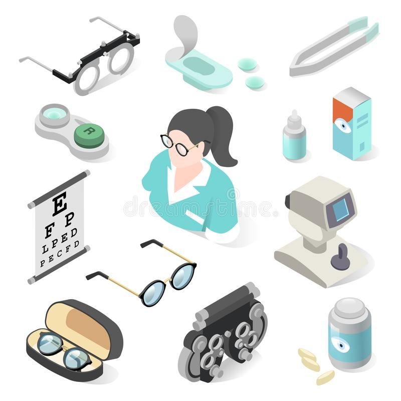 Eye examination professional equipment and ophthalmology set. Orthoptist assessing vision and ability to focus. Vector illustration on white background stock illustration