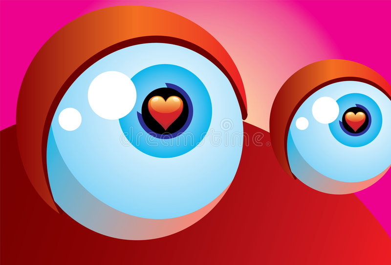 eye förälskelse vektor illustrationer