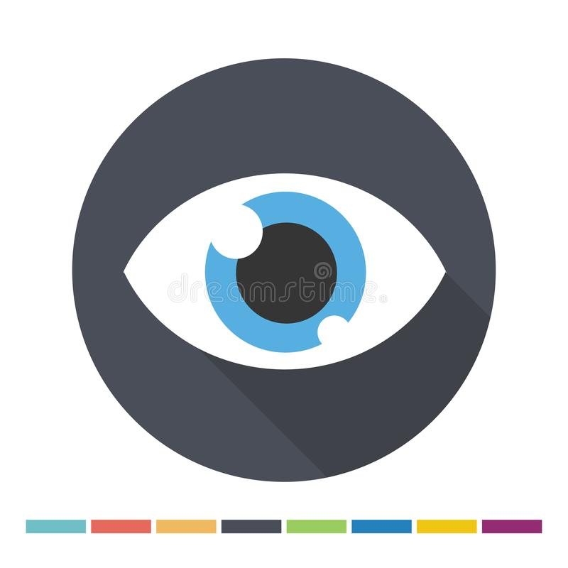 Eye flat icon. With long shadow. Vector Illustration royalty free illustration