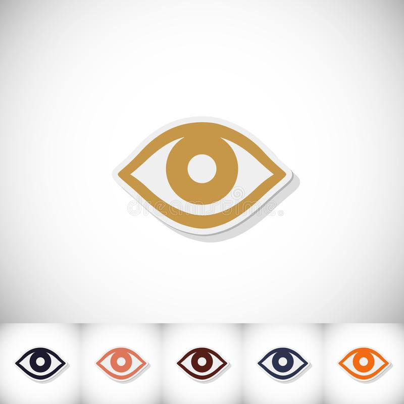 Eye. Flat sticker with shadow on white background stock illustration