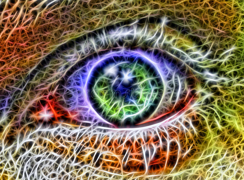 Eye from fractals. Coloured abstraction of eye from fractals royalty free illustration