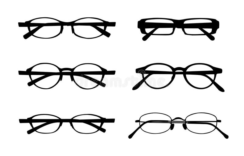 Eye glasses. Variety eye glasses isolated on white background