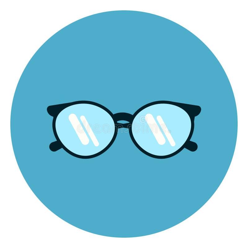 Eye Glasses Icon Modern Eyeglasses On Blue Round Background vector illustration