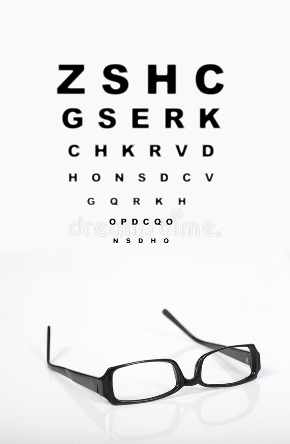 Eye glasses and test chart stock image
