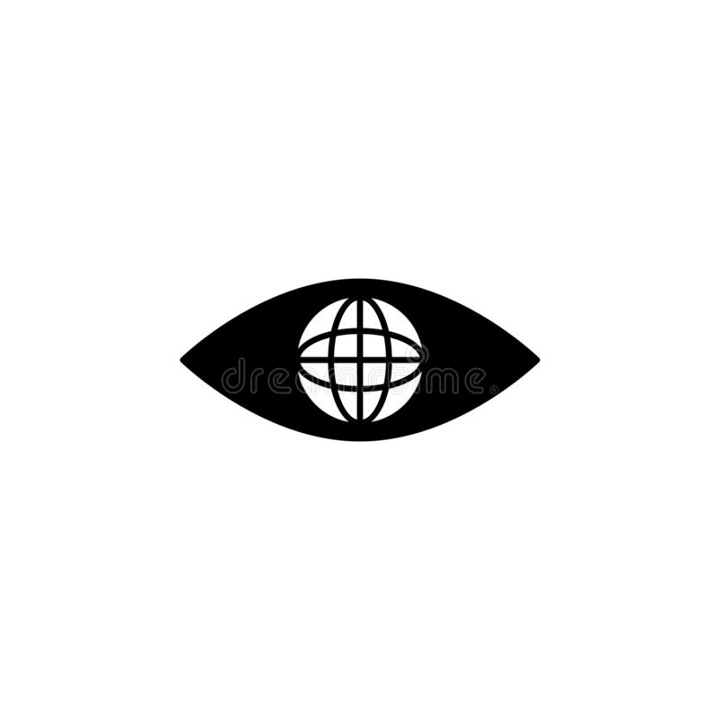 eye, global icon. Simple glyph  of business set for UI and UX, website or mobile application on white background stock illustration