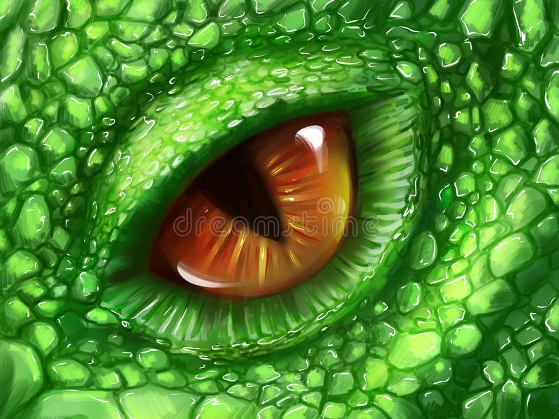 Eye of a green dragon stock illustration