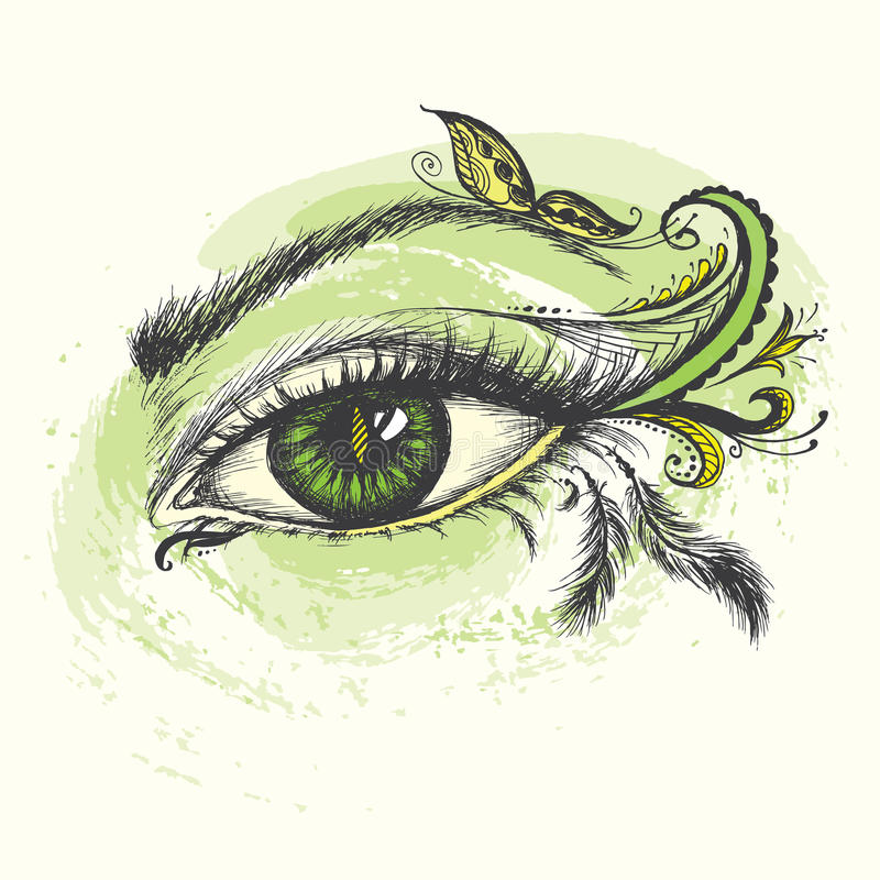 Eye hand drawn with doodle make up. Eye hand drawn with doodle make up, vector illustration