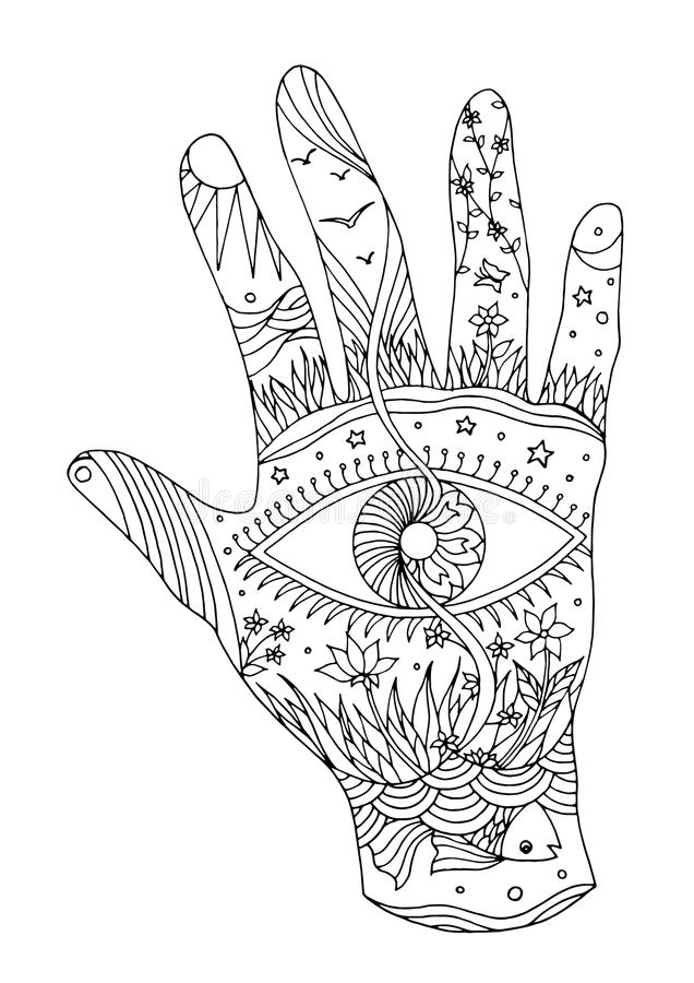 Eye in hand symbol world, universe vector hand drawn illustration vector illustration