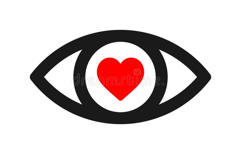 Heart Eye Filled Outline Icon Line Vector Sign Stock Vector