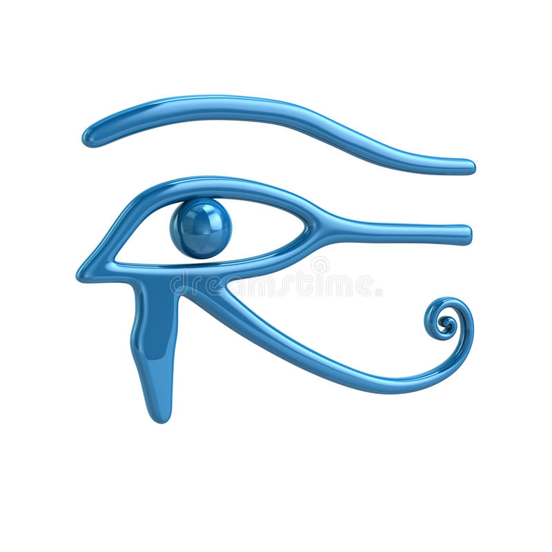 Eye of Horus. Illustration of the 'Eye of Horus' in blue on white of an ancient Egyptian symbol of protection, royal power and good health royalty free stock photos