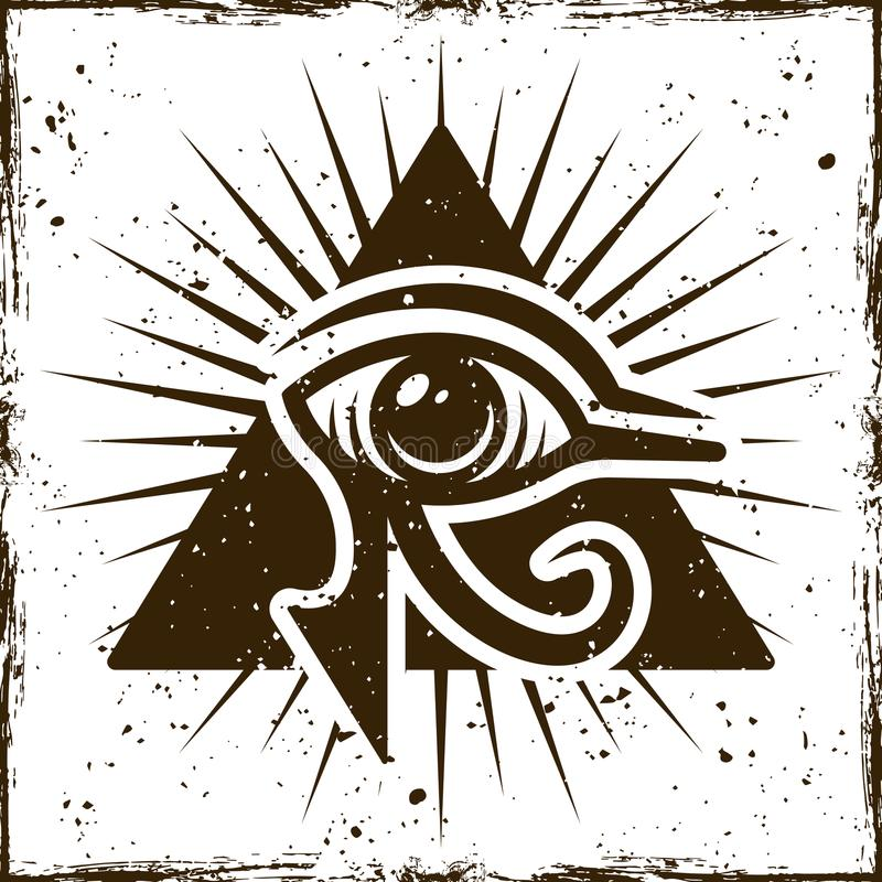 Eye of horus in triangle, ancient egyptian symbol. On background with removable textures vector illustration