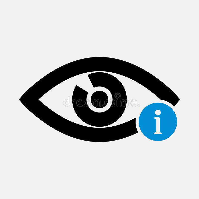 Eye icon with information sign. Eye icon and about, faq, help, hint symbol royalty free illustration