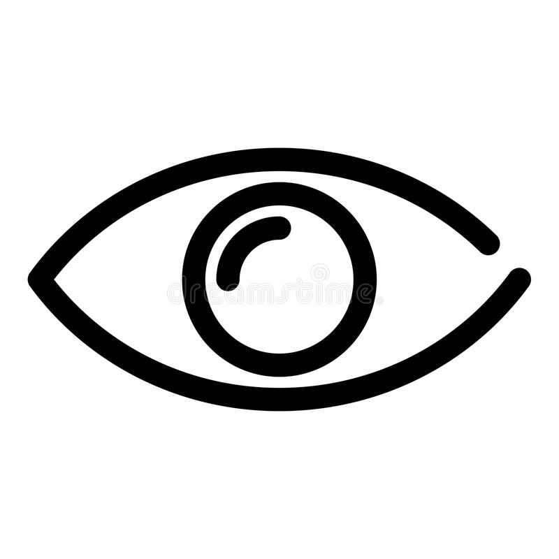 Eye icon. Symbol of preview or searching. Outline modern design element. Simple black flat vector sign with rounded stock illustration